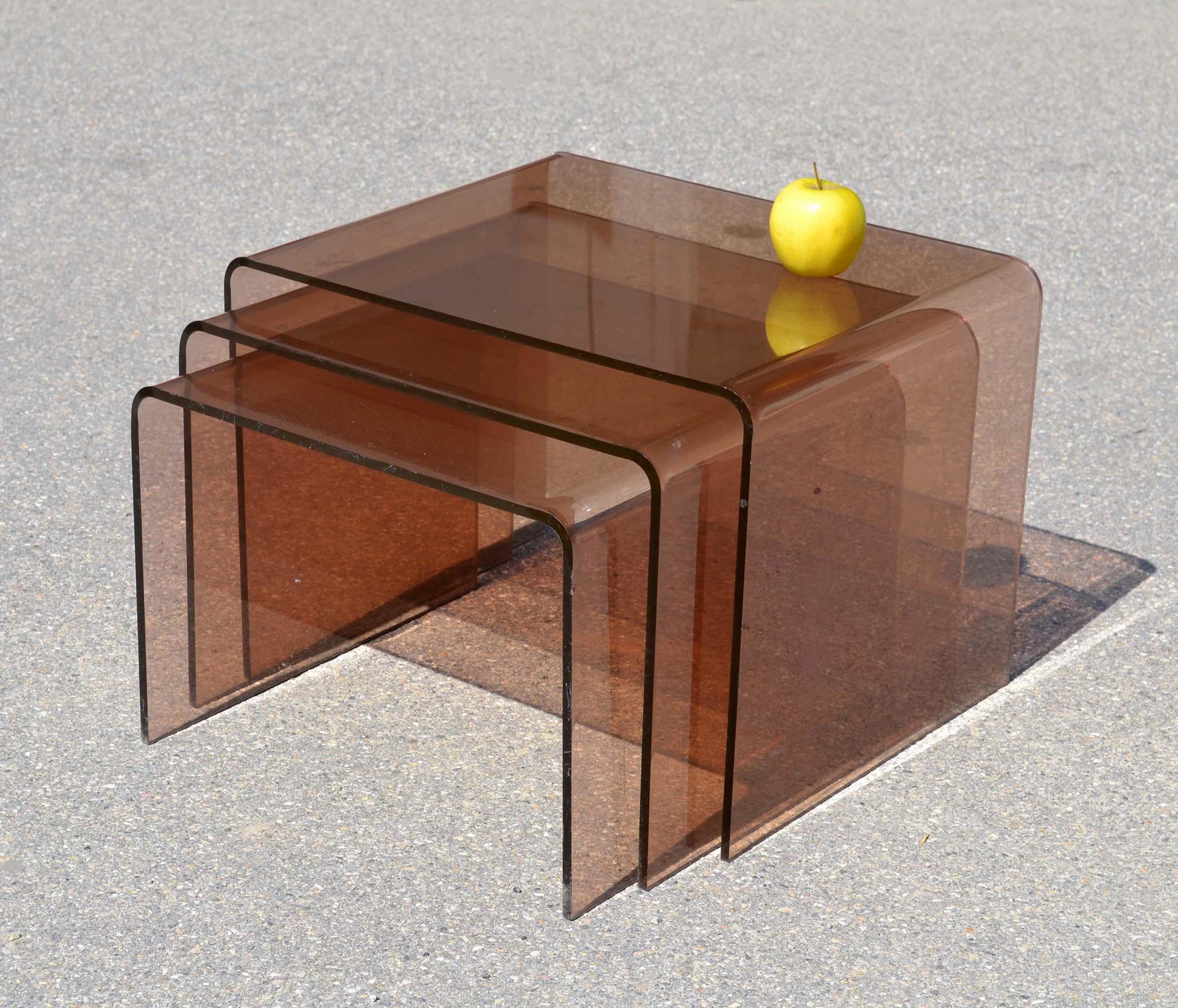 Mobilier et objets design des ann es 1980 - Table gigogne plexi ...