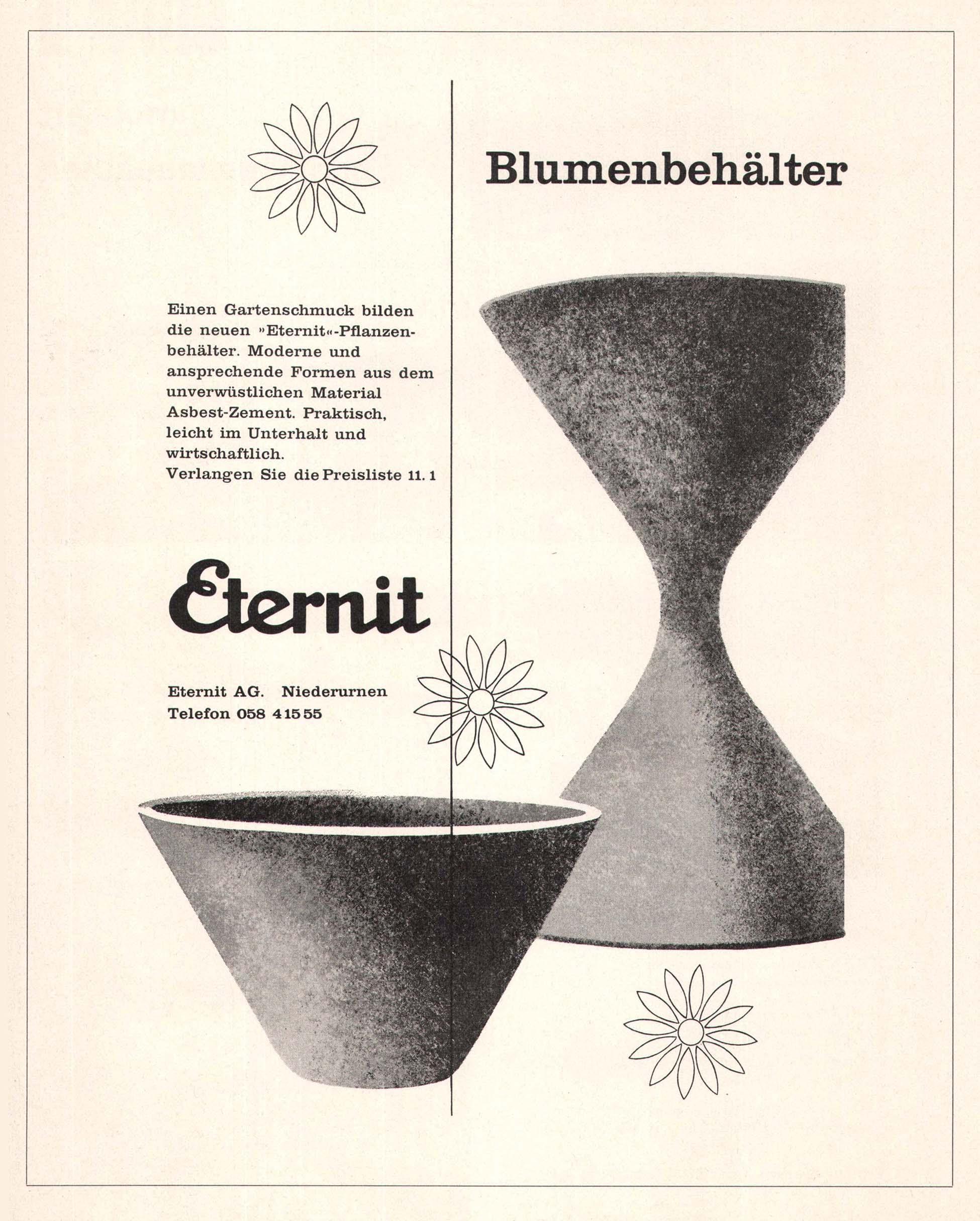 mobilier de jardin vintage Suisse en Eternit fibrociment
