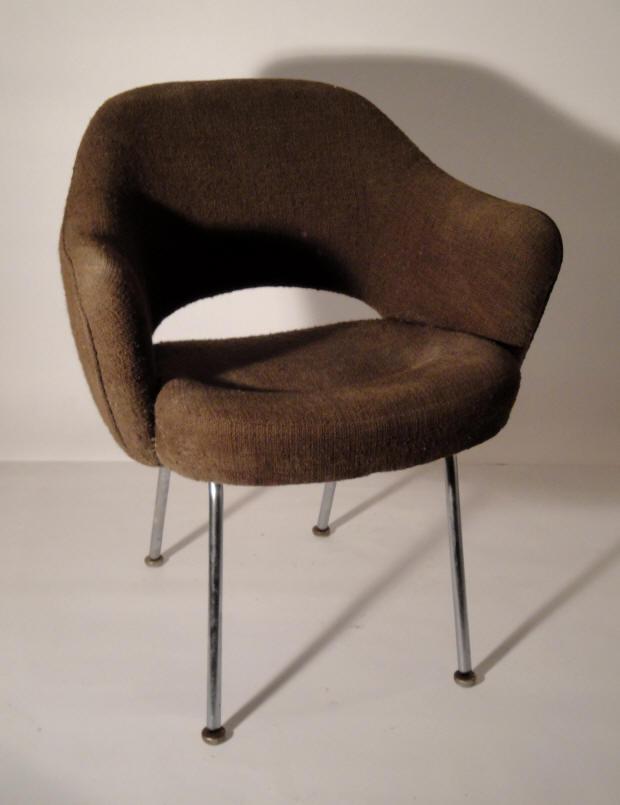 chaise de bureau dossier arondi bois annee 70